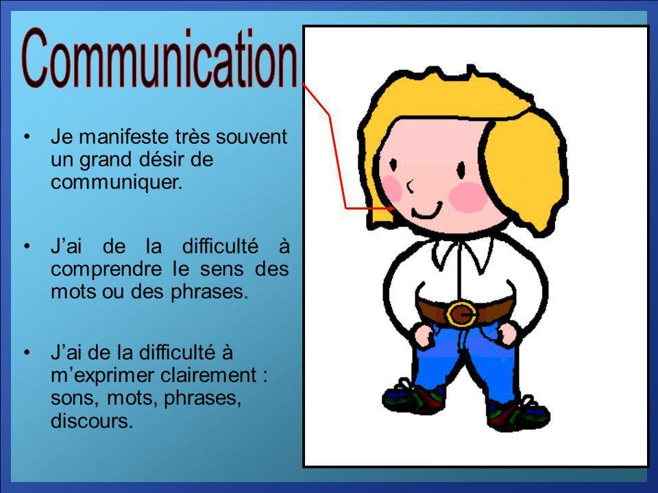 Je manifeste très souvent un grand désir de communiquer. Jai de la difficulté à comprendre le sens des mots ou des phrases. Jai de la difficulté à mex