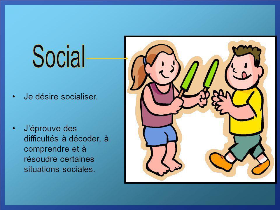 Je désire socialiser. Jéprouve des difficultés à décoder, à comprendre et à résoudre certaines situations sociales.