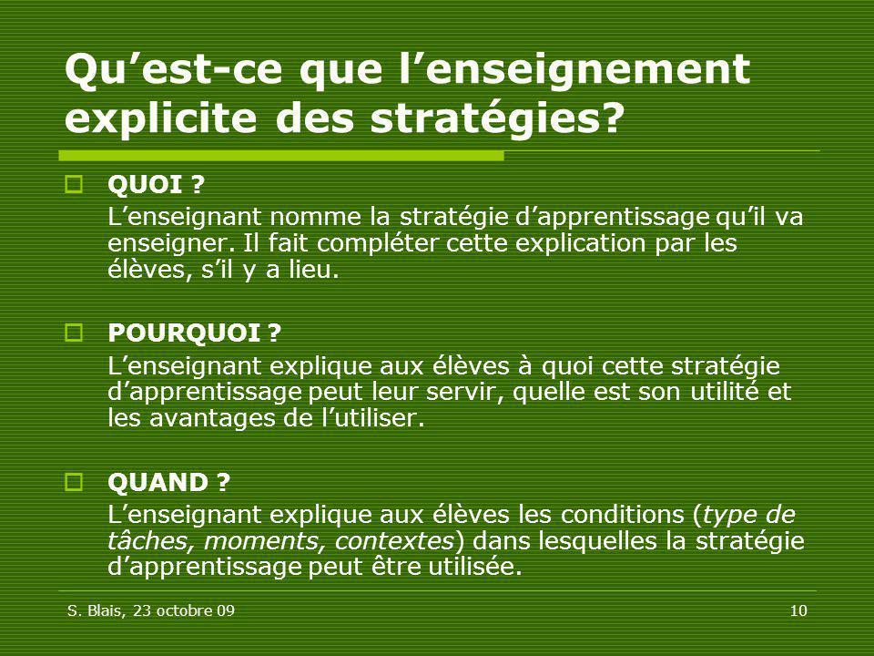 S. Blais, 23 octobre 0910 Quest-ce que lenseignement explicite des stratégies? QUOI ? Lenseignant nomme la stratégie dapprentissage quil va enseigner.