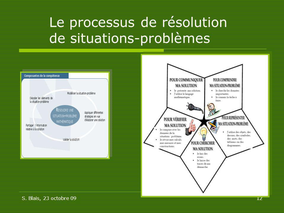 S. Blais, 23 octobre 0912 Le processus de résolution de situations-problèmes
