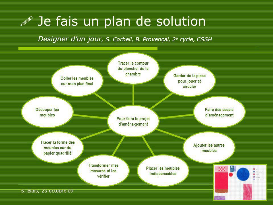 S. Blais, 23 octobre 0917 Je fais un plan de solution Designer dun jour, S. Corbeil, B. Provençal, 2 e cycle, CSSH Pour faire le projet daména- gement