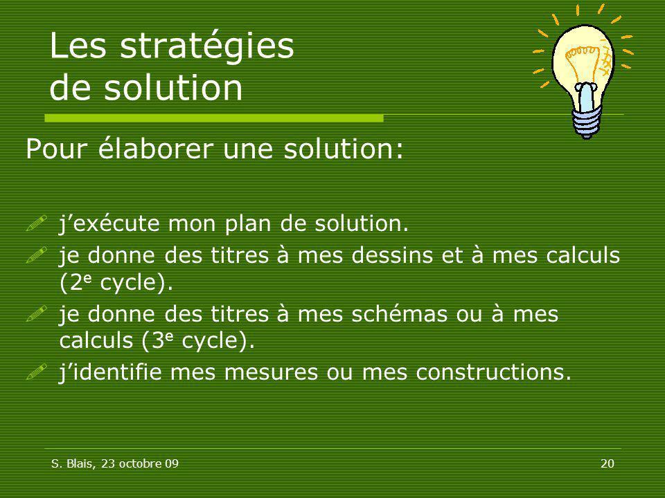 S. Blais, 23 octobre 0920 Les stratégies de solution Pour élaborer une solution: jexécute mon plan de solution. je donne des titres à mes dessins et à