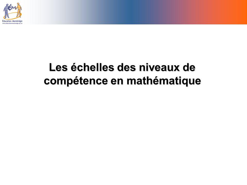 Les échelles des niveaux de compétence en mathématique