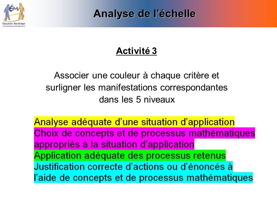 Analyse de léchelle Activité 3 Associer une couleur à chaque critère et surligner les manifestations correspondantes dans les 5 niveaux