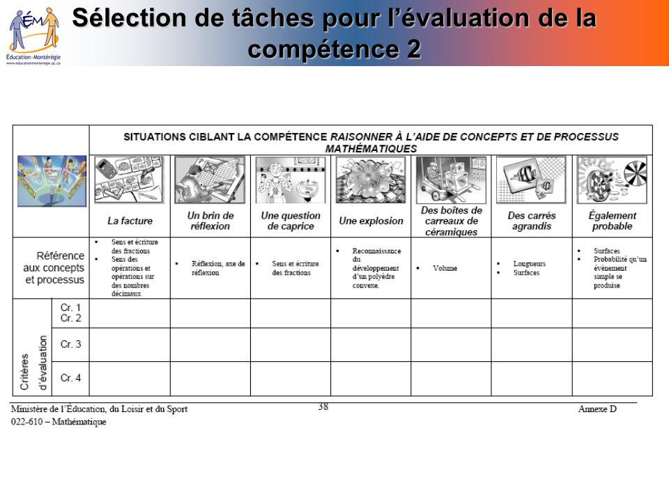 Sélection de tâches pour lévaluation de la compétence 2
