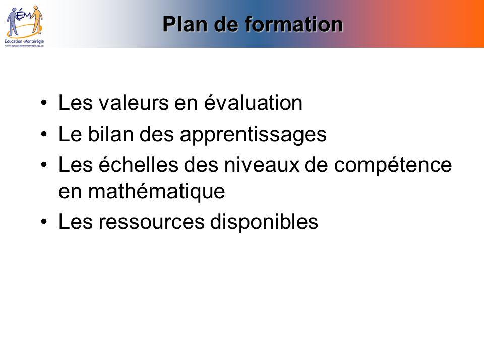 Plan de formation Les valeurs en évaluation Le bilan des apprentissages Les échelles des niveaux de compétence en mathématique Les ressources disponib