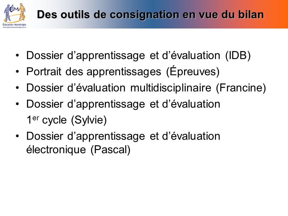 Des outils de consignation en vue du bilan Dossier dapprentissage et dévaluation (IDB) Portrait des apprentissages (Épreuves) Dossier dévaluation mult