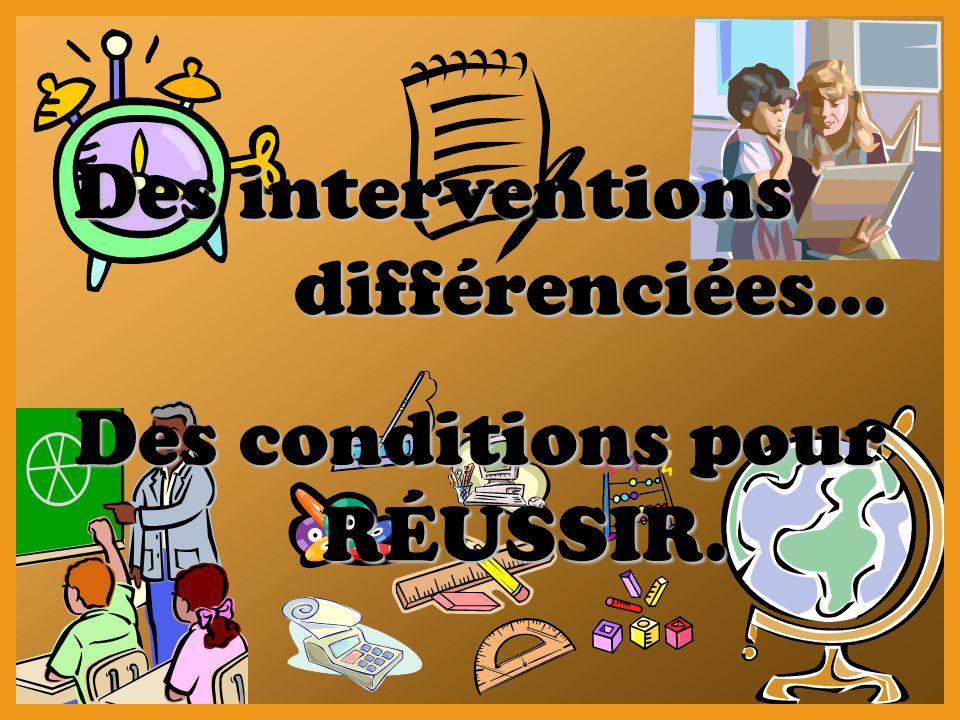 Des interventions différenciées… Des interventions différenciées… Des conditions pour RÉUSSIR.