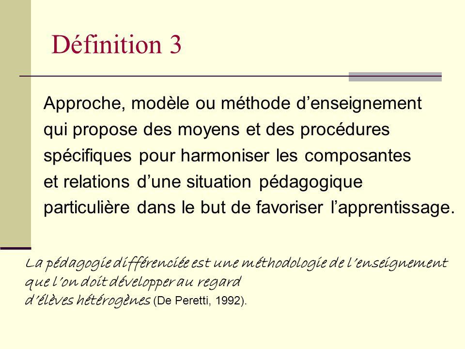 La pédagogie différenciée est une démarche qui consiste à mettre en œuvre un ensemble diversifié de moyens et de procédures denseignement afin de perm