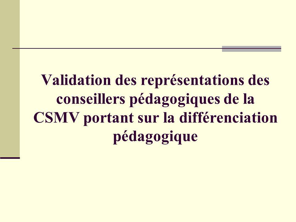 La différenciation pédagogique Atelier offert aux conseillers pédagogiques 23 décembre 2005