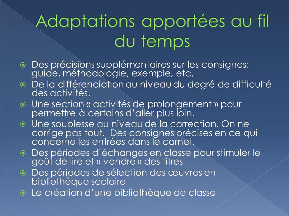 Des précisions supplémentaires sur les consignes: guide, méthodologie, exemple, etc. De la différenciation au niveau du degré de difficulté des activi
