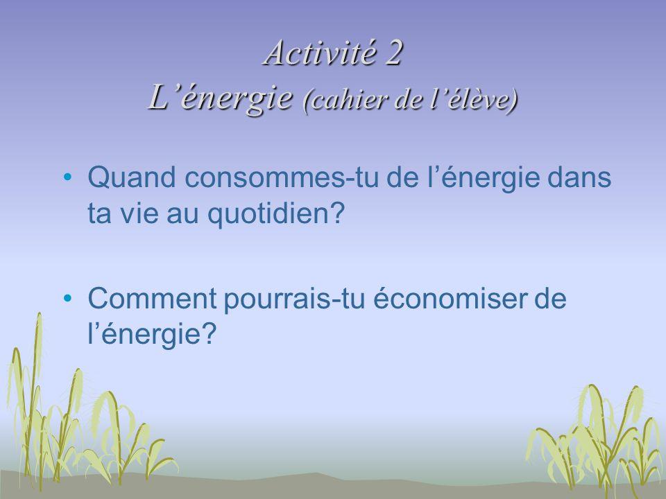 Activité 2 Lénergie (cahier de lélève) Quand consommes-tu de lénergie dans ta vie au quotidien.