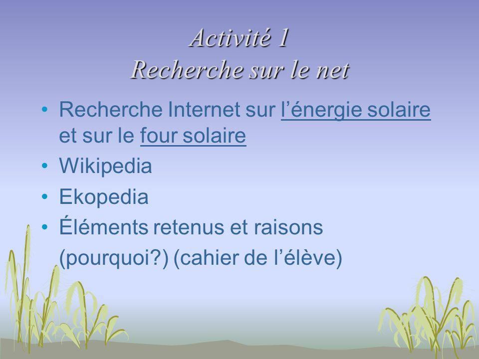 Activité 1 Recherche sur le net Recherche Internet sur lénergie solaire et sur le four solaire Wikipedia Ekopedia Éléments retenus et raisons (pourquoi?) (cahier de lélève)