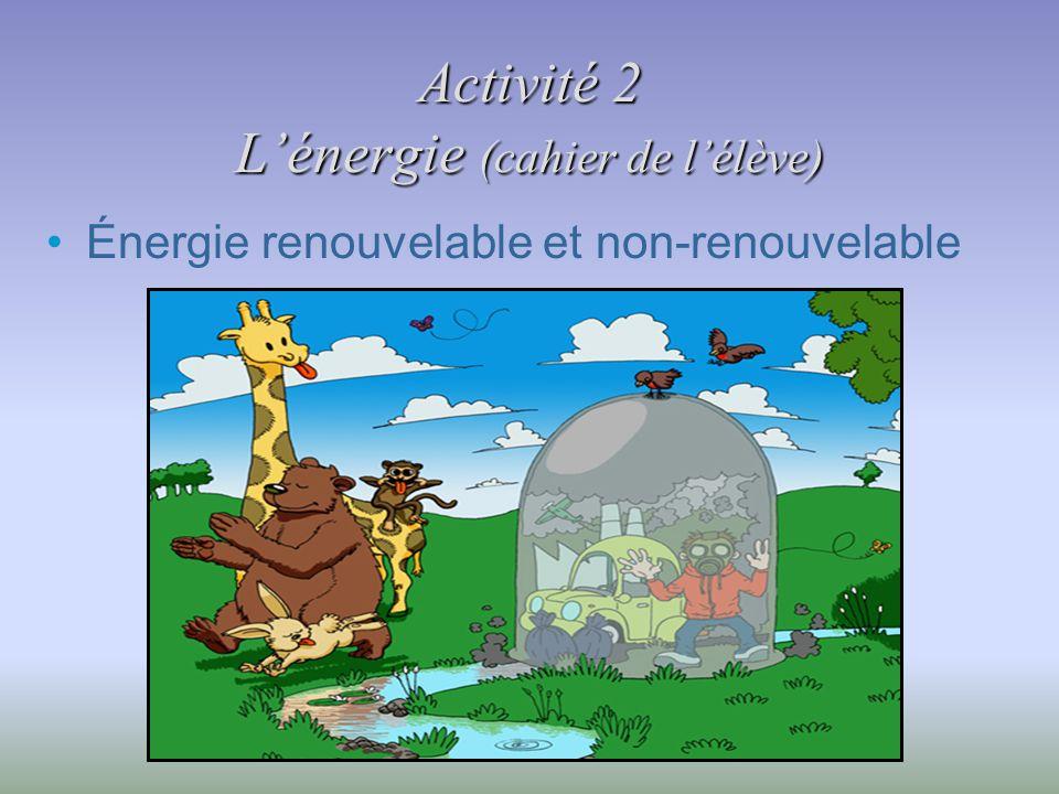 Activité 2 Lénergie (cahier de lélève) Énergie renouvelable et non-renouvelable
