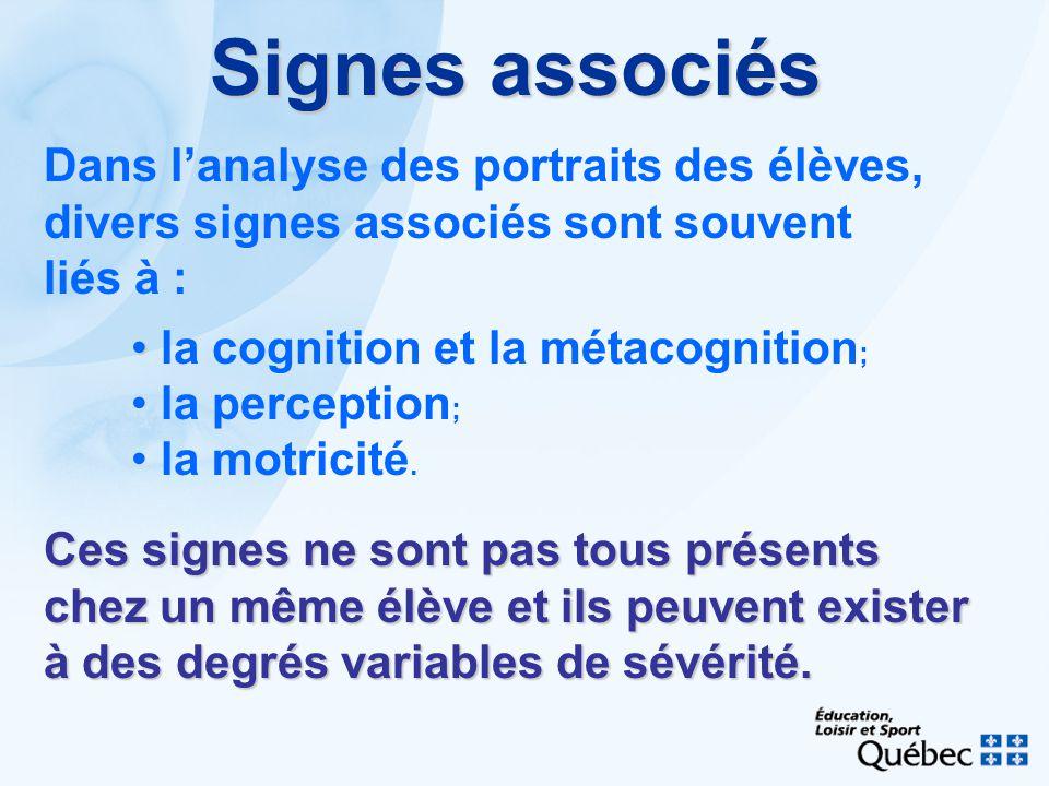 Signes associés Dans lanalyse des portraits des élèves, divers signes associés sont souvent liés à : la cognition et la métacognition ; la perception ; la motricité.