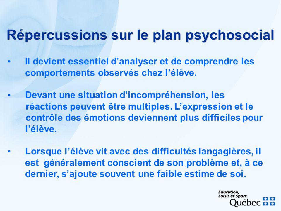 Répercussions sur le plan psychosocial Il devient essentiel danalyser et de comprendre les comportements observés chez lélève. Devant une situation di