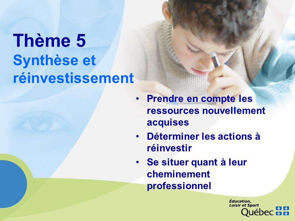 Thème 5 Synthèse et réinvestissement Prendre en compte les ressources nouvellement acquises Déterminer les actions à réinvestir Se situer quant à leur cheminement professionnel