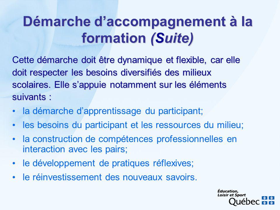 Démarche daccompagnement à la formation (Suite) démarche doit être dynamique et flexible, car elle Cette démarche doit être dynamique et flexible, car