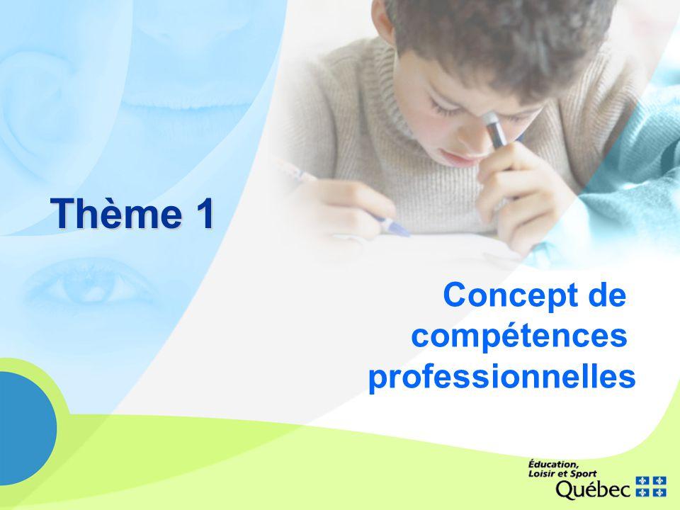 Schéma I Concept de compétences professionnelles La compétence se construit dans un contexte faisant appel à la responsabilité partagée Elle amène les enseignants et les intervenants scolaires à sengager dans lanalyse des pratiques individuelles et collectives, visant la réussite des élèves.