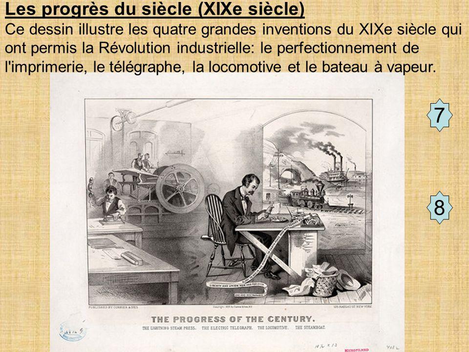 Document de travail 7 8 Les progrès du siècle (XIXe siècle) Ce dessin illustre les quatre grandes inventions du XIXe siècle qui ont permis la Révolution industrielle: le perfectionnement de l imprimerie, le télégraphe, la locomotive et le bateau à vapeur.
