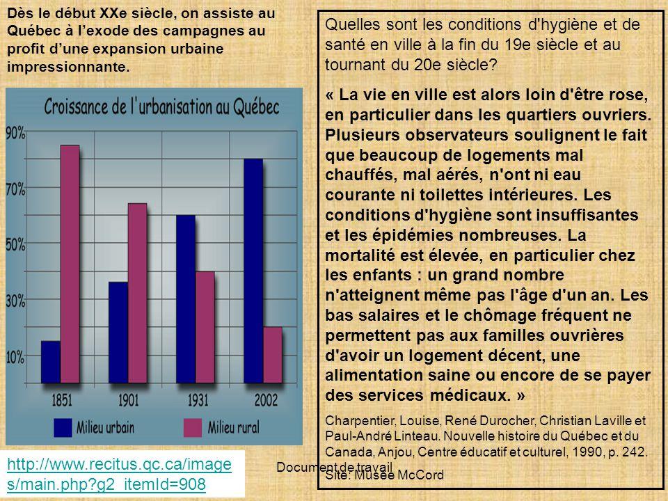 Document de travail Dès le début XXe siècle, on assiste au Québec à lexode des campagnes au profit dune expansion urbaine impressionnante.