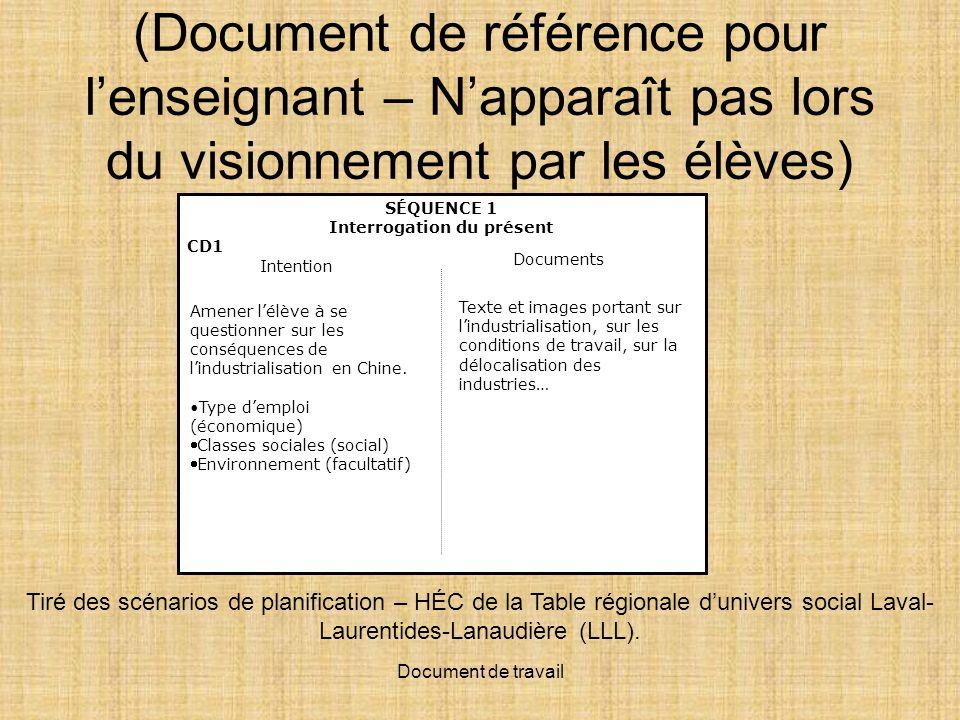 Document de travail (Document de référence pour lenseignant – Napparaît pas lors du visionnement par les élèves) Tiré des scénarios de planification – HÉC de la Table régionale dunivers social Laval- Laurentides-Lanaudière (LLL).