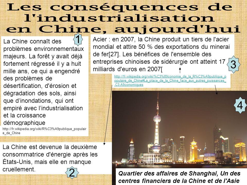 Document de travail La Chine connaît des problèmes environnementaux majeurs.