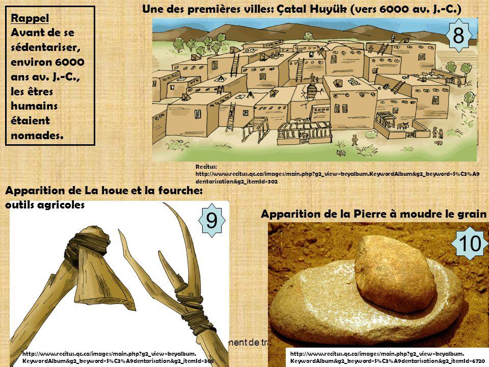 Document de travail 8 Recitus: http://www.recitus.qc.ca/images/main.php?g2_view=keyalbum.KeywordAlbum&g2_keyword=S%C3%A9 dentarisation&g2_itemId=302 Une des premières villes: Çatal Huyük (vers 6000 av.