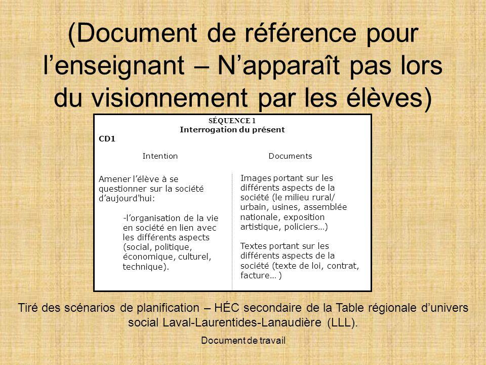 Document de travail (Document de référence pour lenseignant – Napparaît pas lors du visionnement par les élèves) Tiré des scénarios de planification – HÉC secondaire de la Table régionale dunivers social Laval-Laurentides-Lanaudière (LLL).