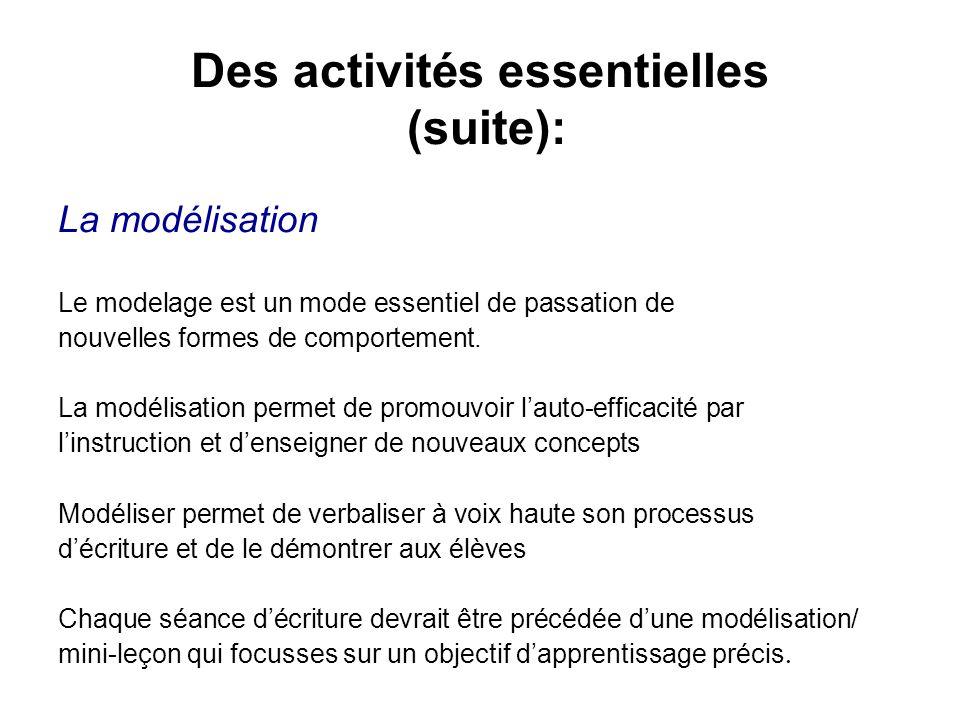Des activités essentielles (suite): La modélisation Le modelage est un mode essentiel de passation de nouvelles formes de comportement. La modélisatio