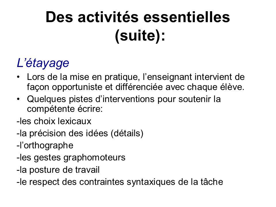 Des activités essentielles (suite): Létayage Lors de la mise en pratique, lenseignant intervient de façon opportuniste et différenciée avec chaque élè