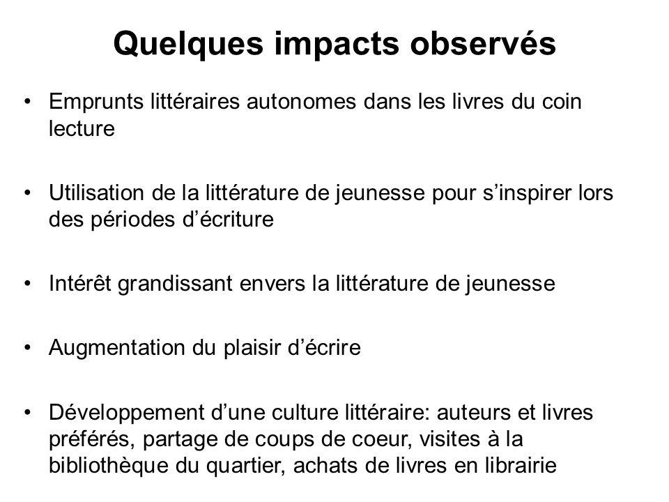 Quelques impacts observés Emprunts littéraires autonomes dans les livres du coin lecture Utilisation de la littérature de jeunesse pour sinspirer lors