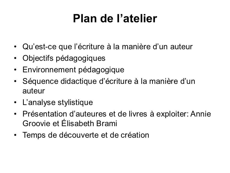 Plan de latelier Quest-ce que lécriture à la manière dun auteur Objectifs pédagogiques Environnement pédagogique Séquence didactique décriture à la ma