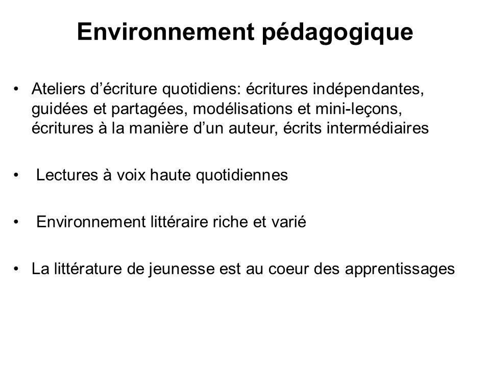 Environnement pédagogique Ateliers décriture quotidiens: écritures indépendantes, guidées et partagées, modélisations et mini-leçons, écritures à la m