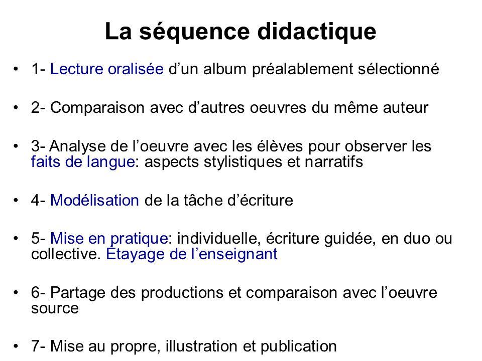 La séquence didactique 1- Lecture oralisée dun album préalablement sélectionné 2- Comparaison avec dautres oeuvres du même auteur 3- Analyse de loeuvr