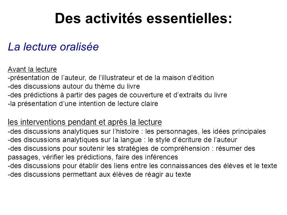 Des activités essentielles: La lecture oralisée Avant la lecture -présentation de lauteur, de lillustrateur et de la maison dédition -des discussions