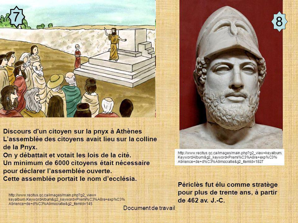 Document de travail 7 8 Discours d un citoyen sur la pnyx à Athènes Lassemblée des citoyens avait lieu sur la colline de la Pnyx.