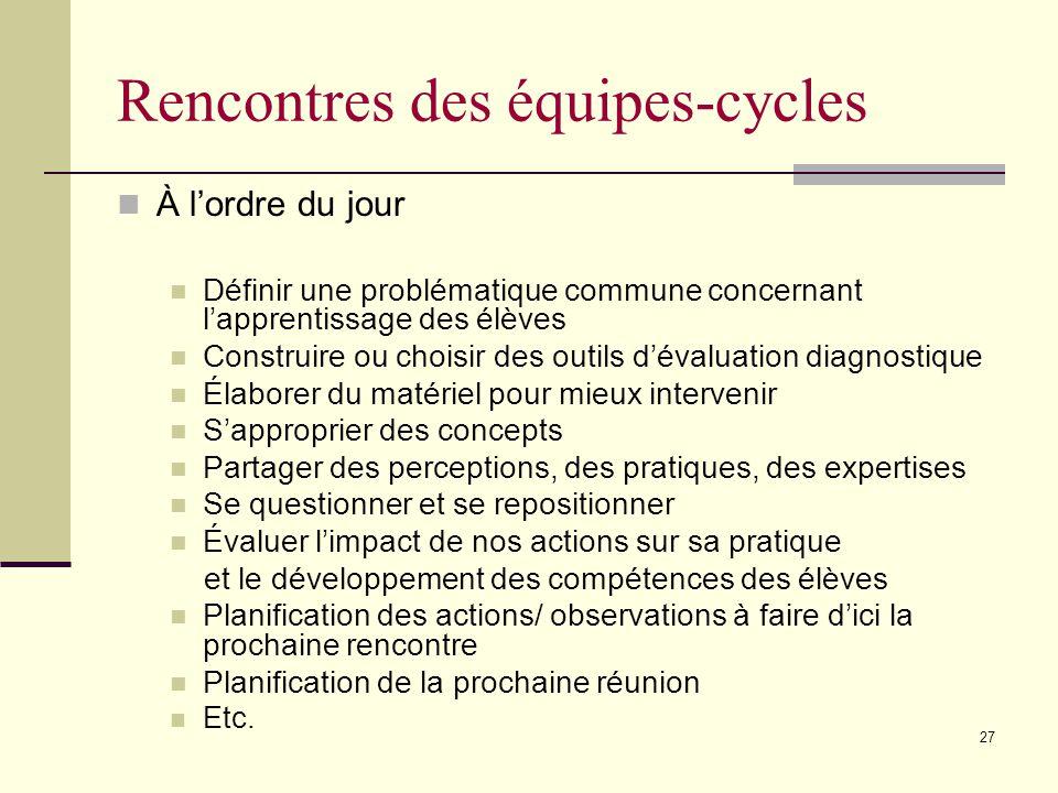 26 Critères de choix dune équipe-cycle Conviction que la DP est nécessaire et importante Travail déquipe Bonne communication Stabilité au sein de léquipe Désir de simpliquer activement au sein de la recherche-action