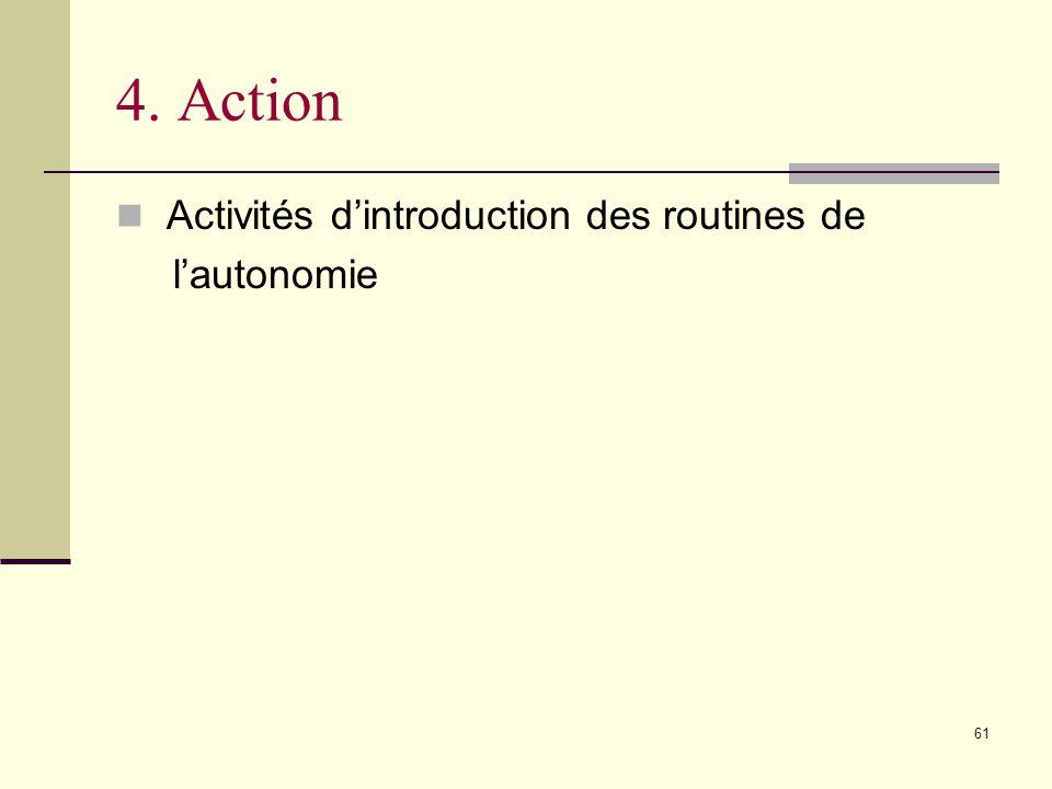 61 4. Action Activités dintroduction des routines de lautonomie