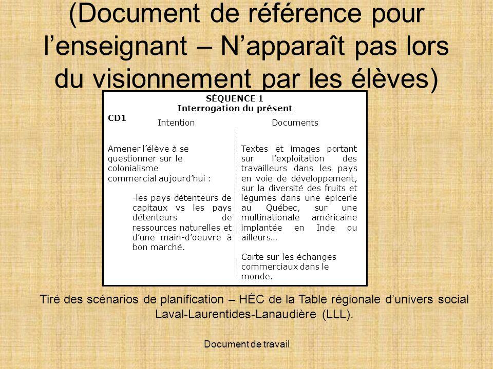 Document de travail (Document de référence pour lenseignant – Napparaît pas lors du visionnement par les élèves) Tiré des scénarios de planification – HÉC de la Table régionale dunivers social Laval-Laurentides-Lanaudière (LLL).