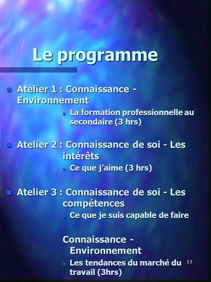 13 Le programme n Atelier 1 : Connaissance - Environnement n La formation professionnelle au secondaire (3 hrs) n Atelier 2 : Connaissance de soi - Le