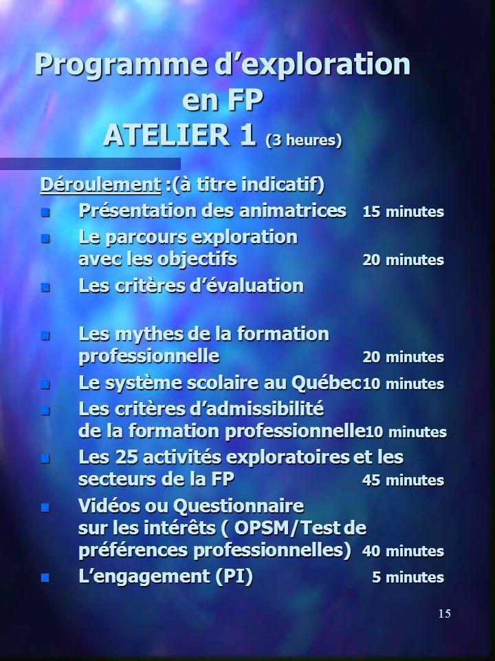 15 Programme dexploration en FP ATELIER 1 (3 heures) Déroulement :(à titre indicatif) n Présentation des animatrices 15 minutes n Le parcours explorat