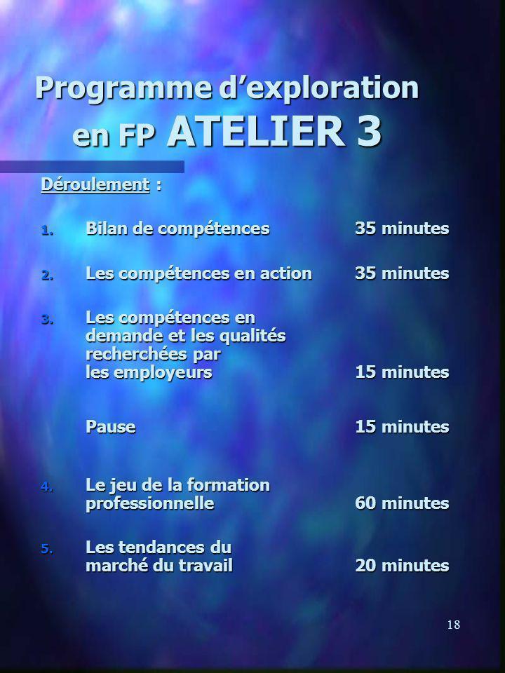 18 Programme dexploration en FP ATELIER 3 Déroulement : 1. Bilan de compétences35 minutes 2. Les compétences en action35 minutes 3. Les compétences en