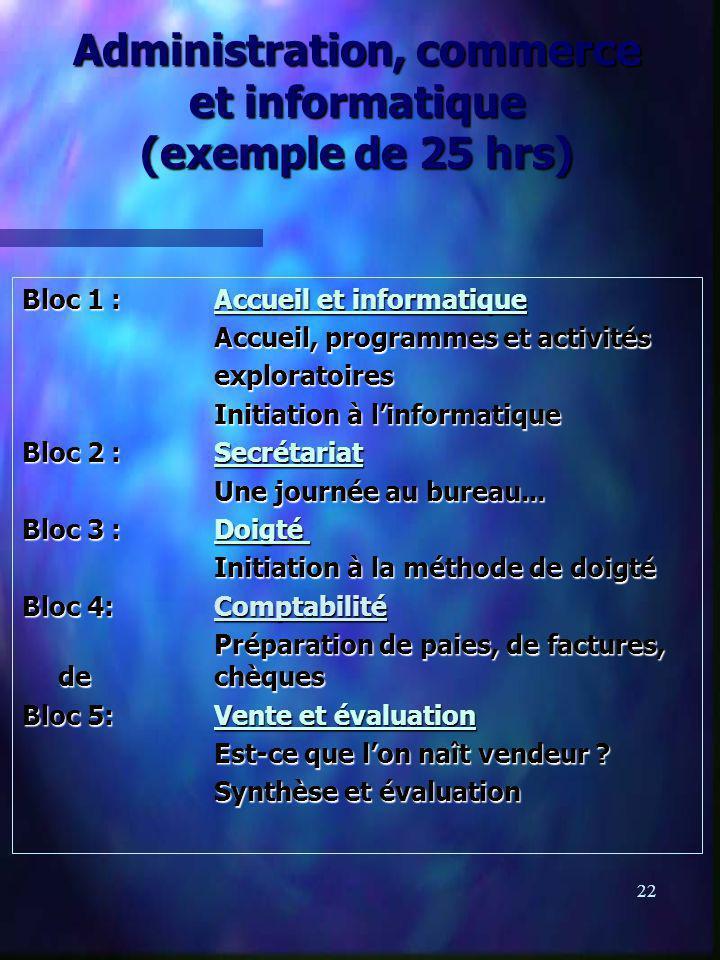 22 Administration, commerce et informatique (exemple de 25 hrs) Bloc 1 :Accueil et informatique Accueil, programmes et activités exploratoires Initiation à linformatique Bloc 2 :Secrétariat Une journée au bureau...