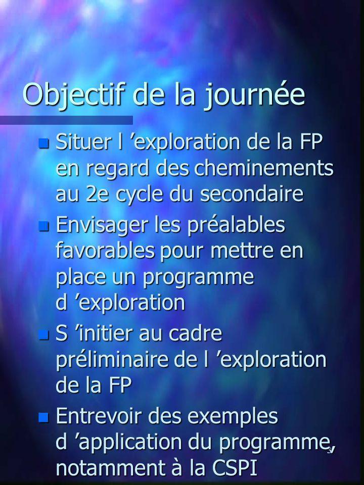 3 Objectif de la journée n Situer l exploration de la FP en regard des cheminements au 2e cycle du secondaire n Envisager les préalables favorables po