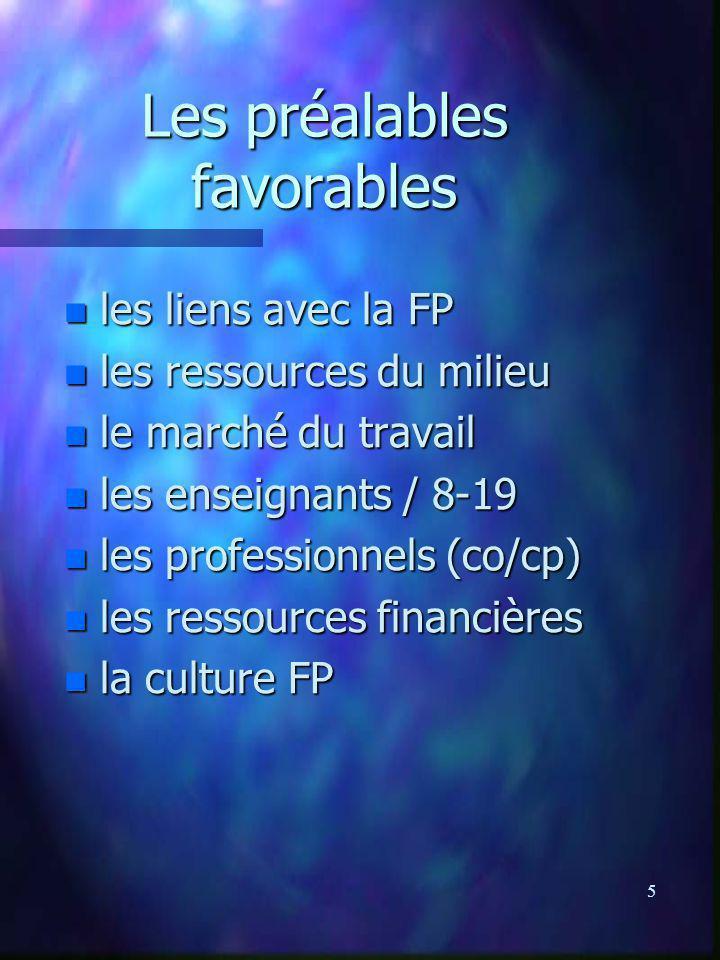 5 Les préalables favorables n les liens avec la FP n les ressources du milieu n le marché du travail n les enseignants / 8-19 n les professionnels (co/cp) n les ressources financières n la culture FP
