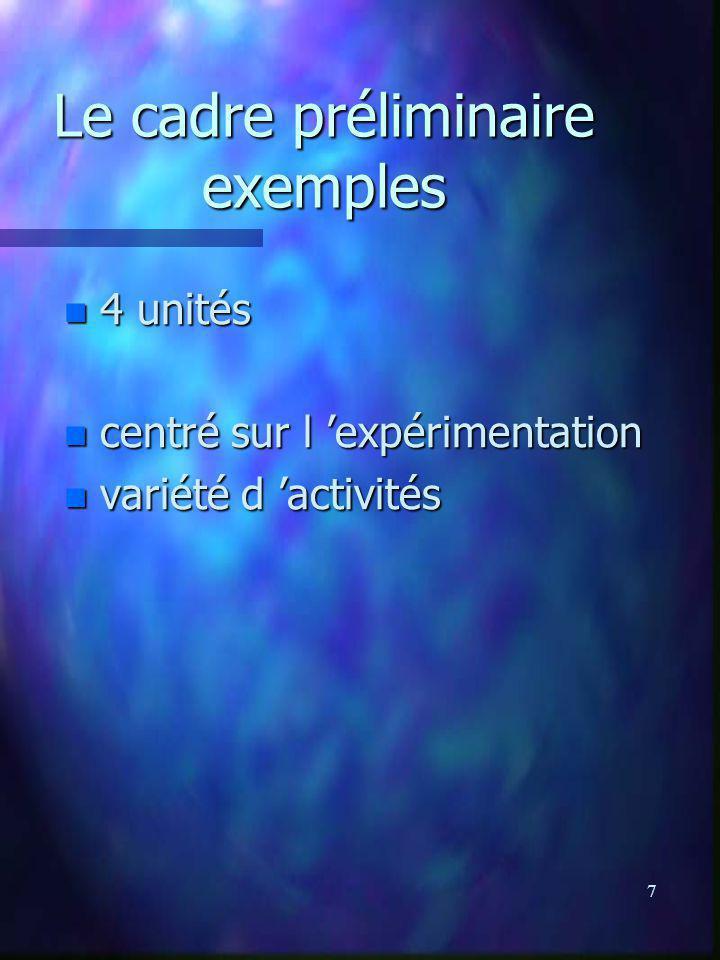 8 Le cadre préliminaire exemples n 2 unités n centré sur des observations n centré sur des recherches n visites
