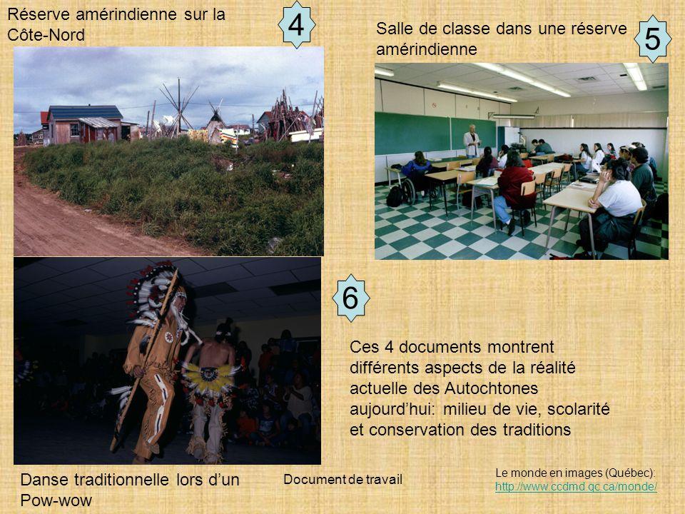 Document de travail Le monde en images (Québec): http://www.ccdmd.qc.ca/monde/ http://www.ccdmd.qc.ca/monde/ Salle de classe dans une réserve amérindienne Réserve amérindienne sur la Côte-Nord Danse traditionnelle lors dun Pow-wow 4 5 Ces 4 documents montrent différents aspects de la réalité actuelle des Autochtones aujourdhui: milieu de vie, scolarité et conservation des traditions 6