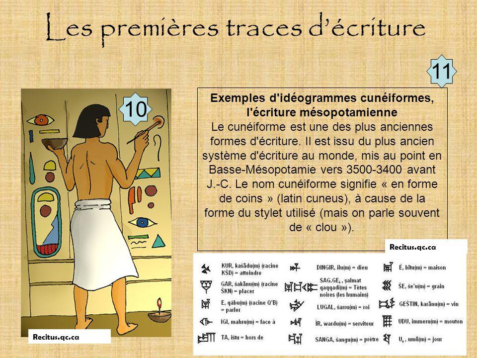 Document de travail 10 11 Exemples d'idéogrammes cunéiformes, l'écriture mésopotamienne Le cunéiforme est une des plus anciennes formes d'écriture. Il