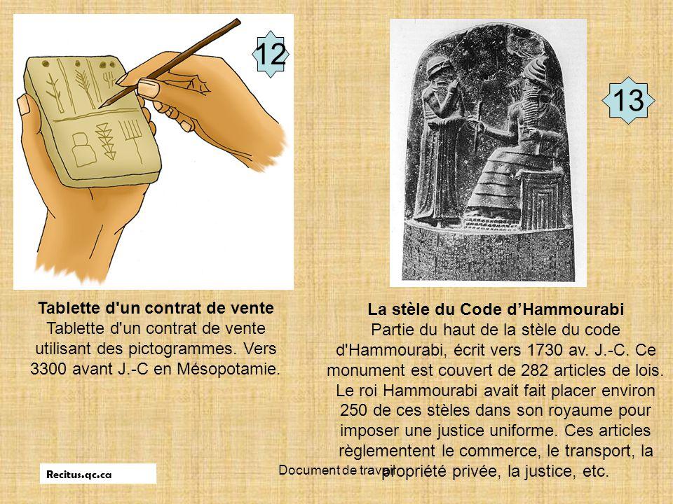 Document de travail Tablette d'un contrat de vente Tablette d'un contrat de vente utilisant des pictogrammes. Vers 3300 avant J.-C en Mésopotamie. La